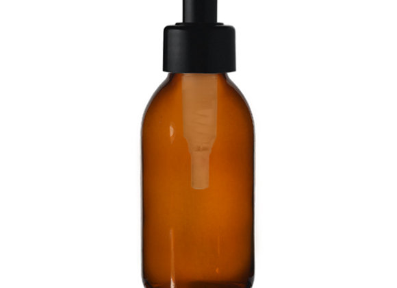 Frasco de vidro âmbar 150mL com dispensador preto