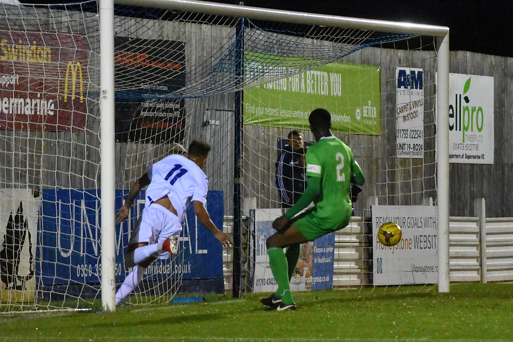 Ryan Cameron scores the 27th minute opener against Blackfield and Langley Fc