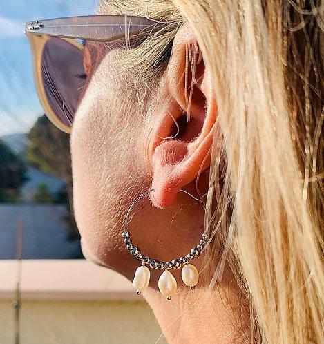 Boucles d'oreilles Créoles & perles de culture (35mm)