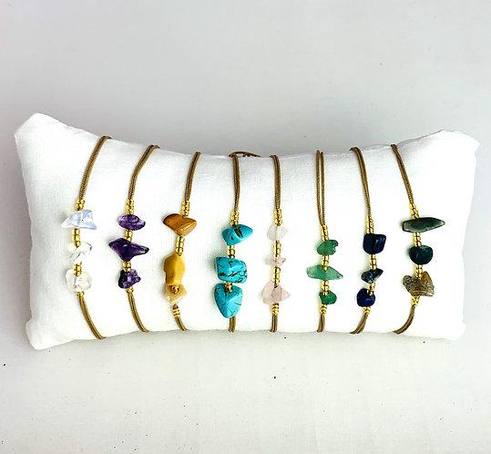 Bracelet 3 Stones sur Cordon ajustable Gold