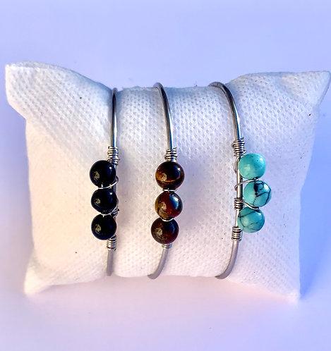 Bracelet ajustable Jonc argenté & Stone