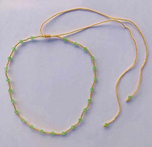Collier Perle de verre & Cristal sur cardon ajustable