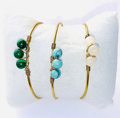 Bracelet ajustable Jonc doré & Stone