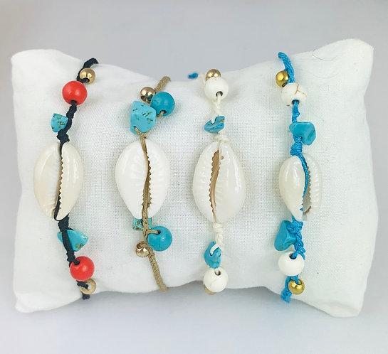 Bracelet Cauri Naturel & Pierre Turquoise sur Cordon