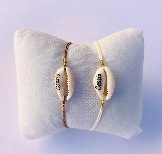 Bracelet Cauri Naturel CASSIS sur Cordon coloré ajustable