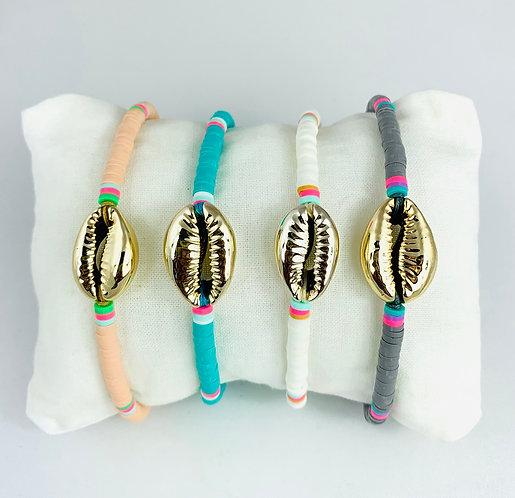 Bracelet Surfeur Heishi & Cauri doré sur Cordon ajustable coloré