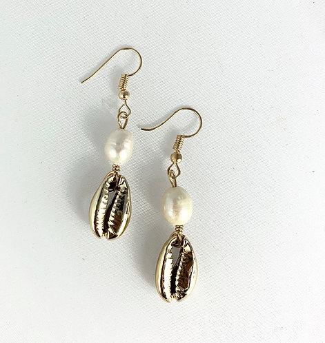 Boucles d'oreilles Coquillage Cauri & Perle Rivière