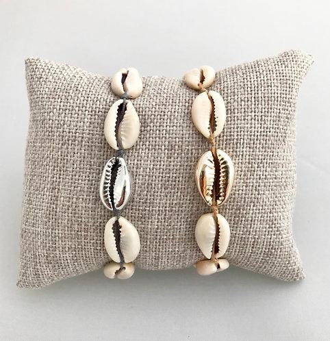 Bracelet 6 Cauris Naturels & Cauri Peint sur Cordon coloré ajustable
