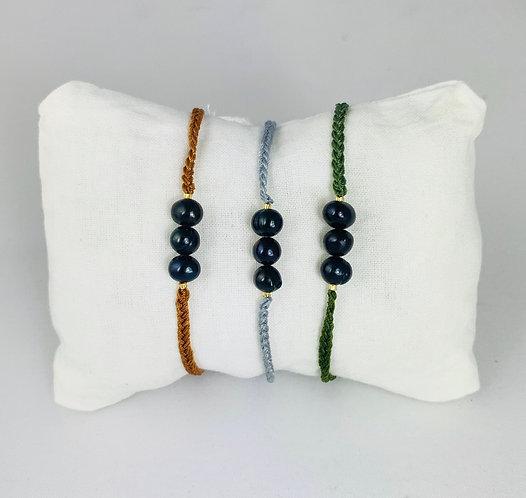 Bracelet 3 Perles Rivière Noires cordon coloré ajustable