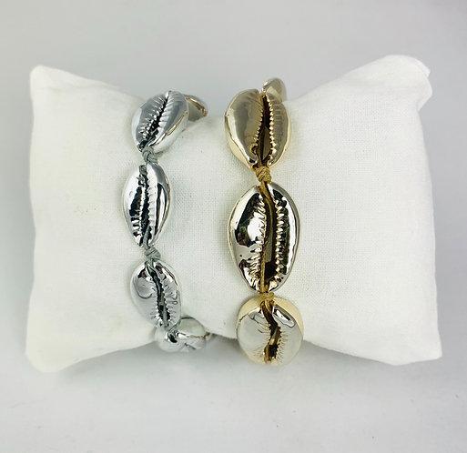 Bracelet 7 Cauris peints sur Cordon coloré ajustable