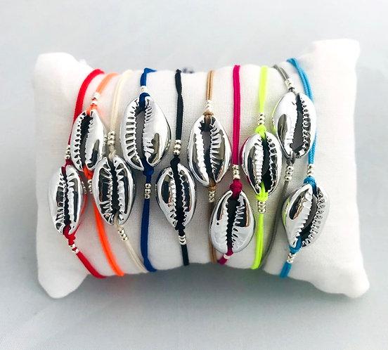 Bracelet Cauri Argenté sur Cordon coloré ajustable