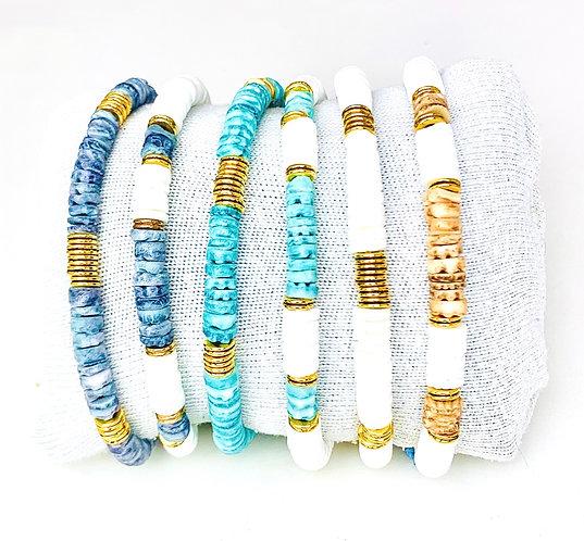 Bracelet Surfeur coquillage sur cordon ajustable coloré