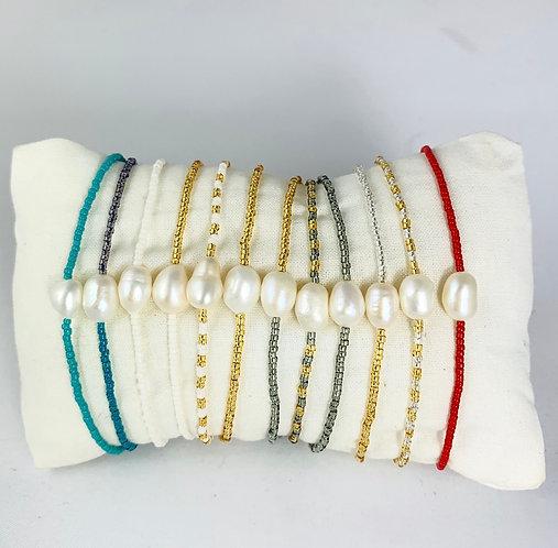 Bracelet Perle Rivière & Perles de verre