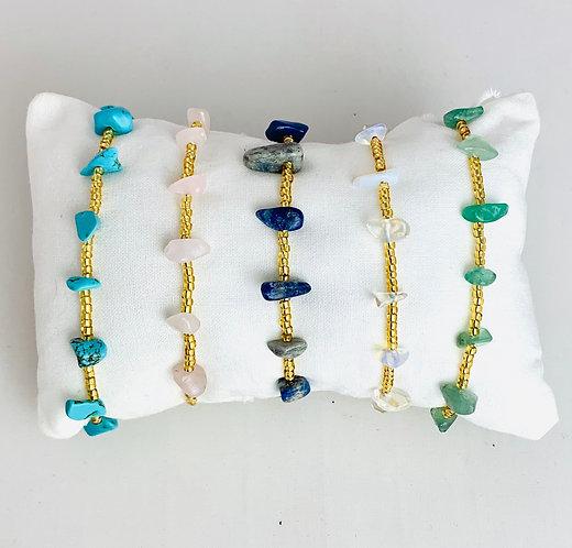 Bracelet 10 stones & Perles de verre sur Cordon ajustable