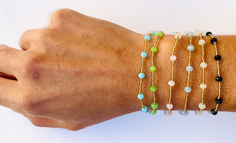 Bracelet Perle de verre & Cristal sur cardon ajustable