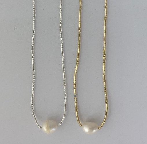 Collier Perle Rivière & Perles Verre sur Cordon ajustable