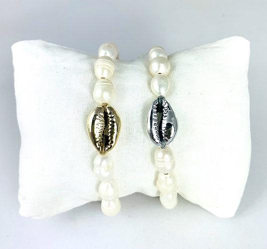 Bracelet 14 Perles Rivière & Cauri peint sur cordon ajustable coloré
