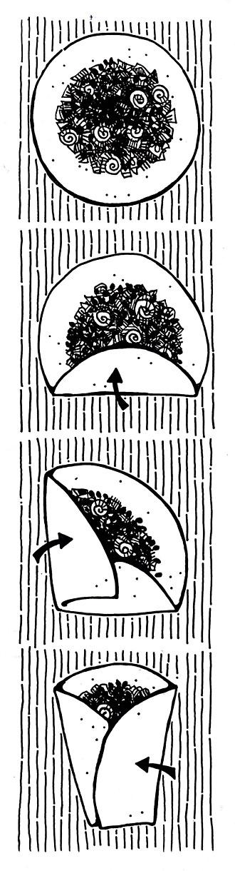 Fold A Burrito, packaging illustration
