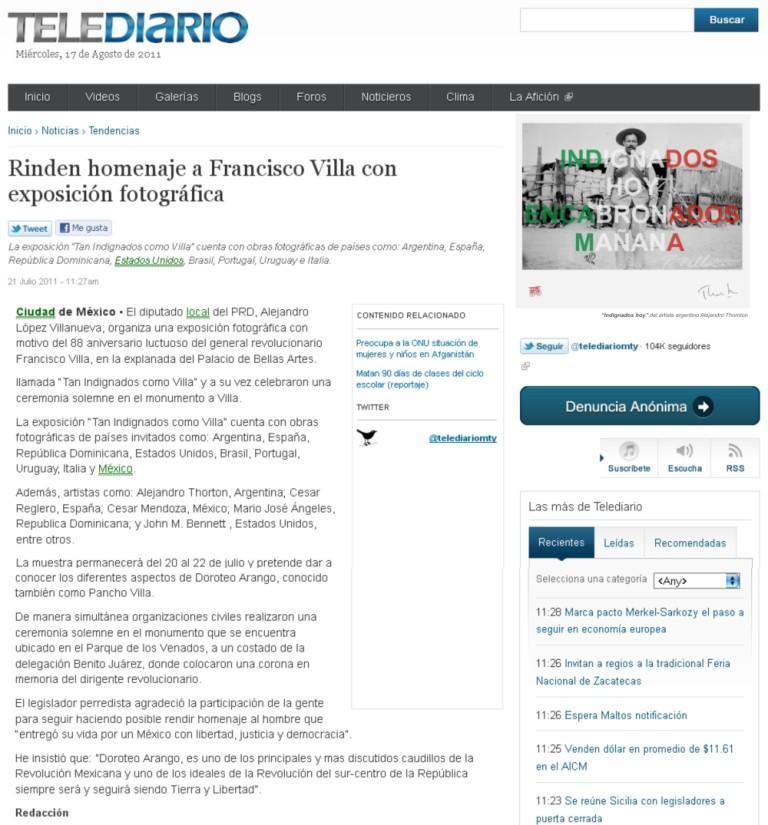 Telediario, Mexico, 2011.