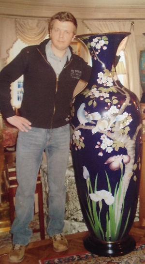 2002: massive Japanese Meiji period silver wire cloisonne vase