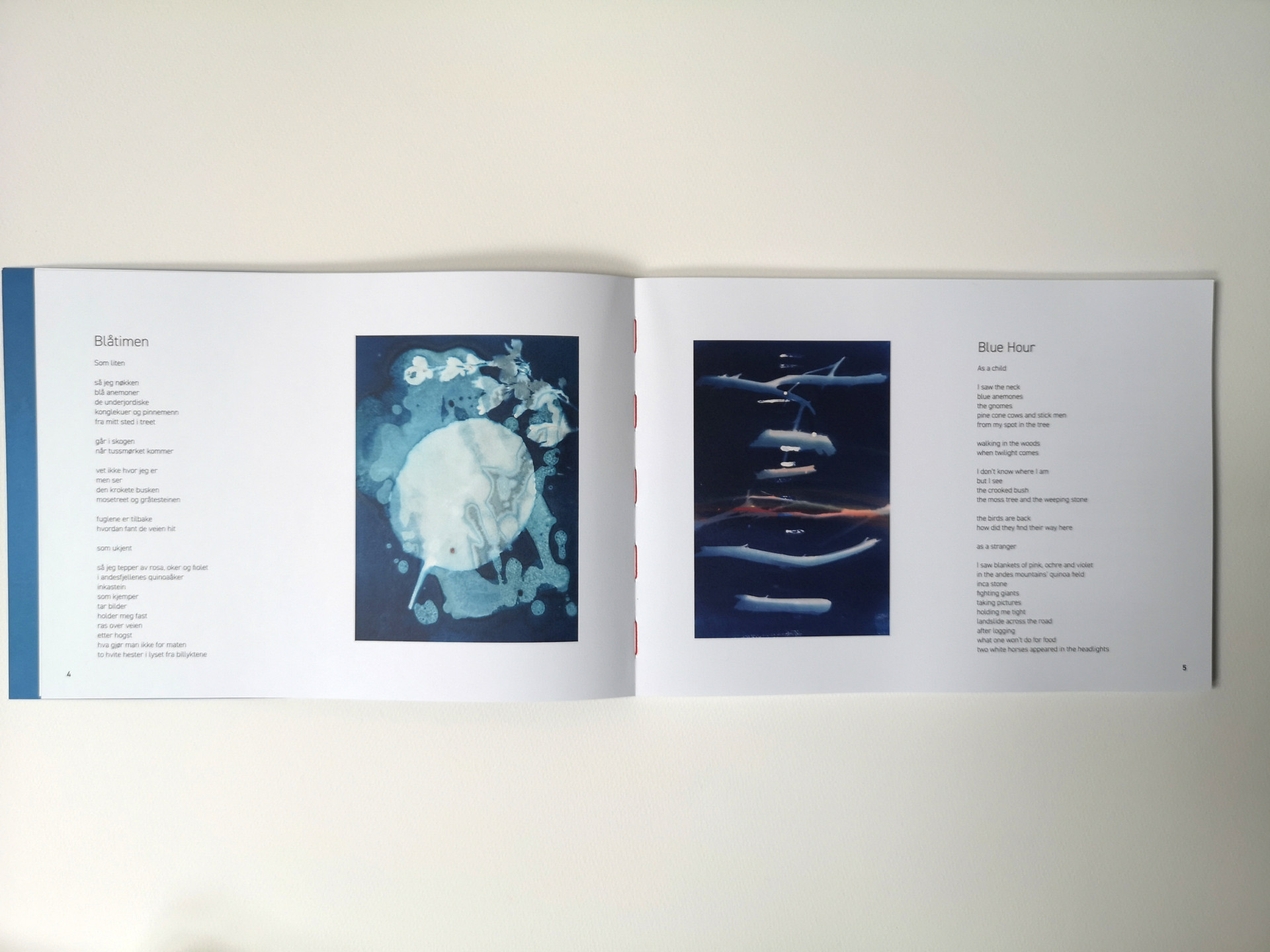 """printed artist book with cyanotype and poetry, """"Blåtimen""""/Transition, 2020."""