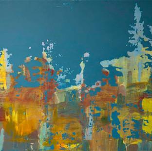 """""""Fuglesang"""" fotoemulsjon og akryl på lerett. 100 x 70"""