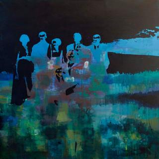 """""""Sommernatt 1""""90 x 90. Fotoemulsjon og akryl på lerett"""