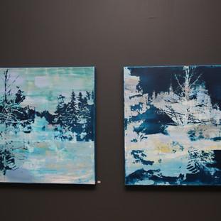 """"""" Huset i skogen"""" og """"Skogen i huset"""" Fotoemulsjon og akryl på lerett.JPG"""