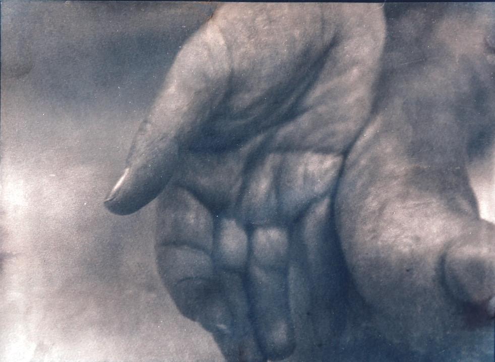 """Hand and foot"" cyanotype toned in tea"