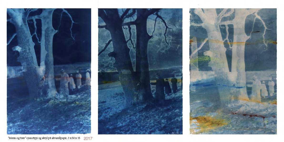 """Menn and trees"" triptycon cyanotype and acrylic"