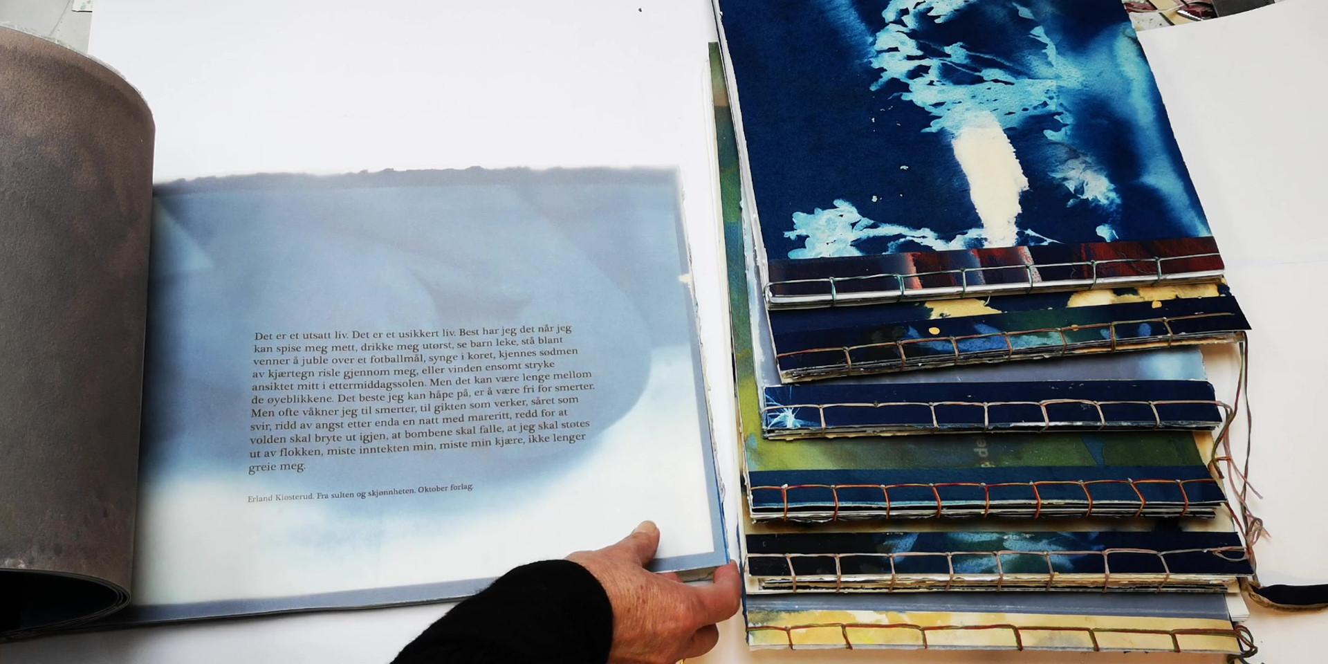 """Handmade artist books with japanese stabbinding """"Blåtimen"""" 2019"""