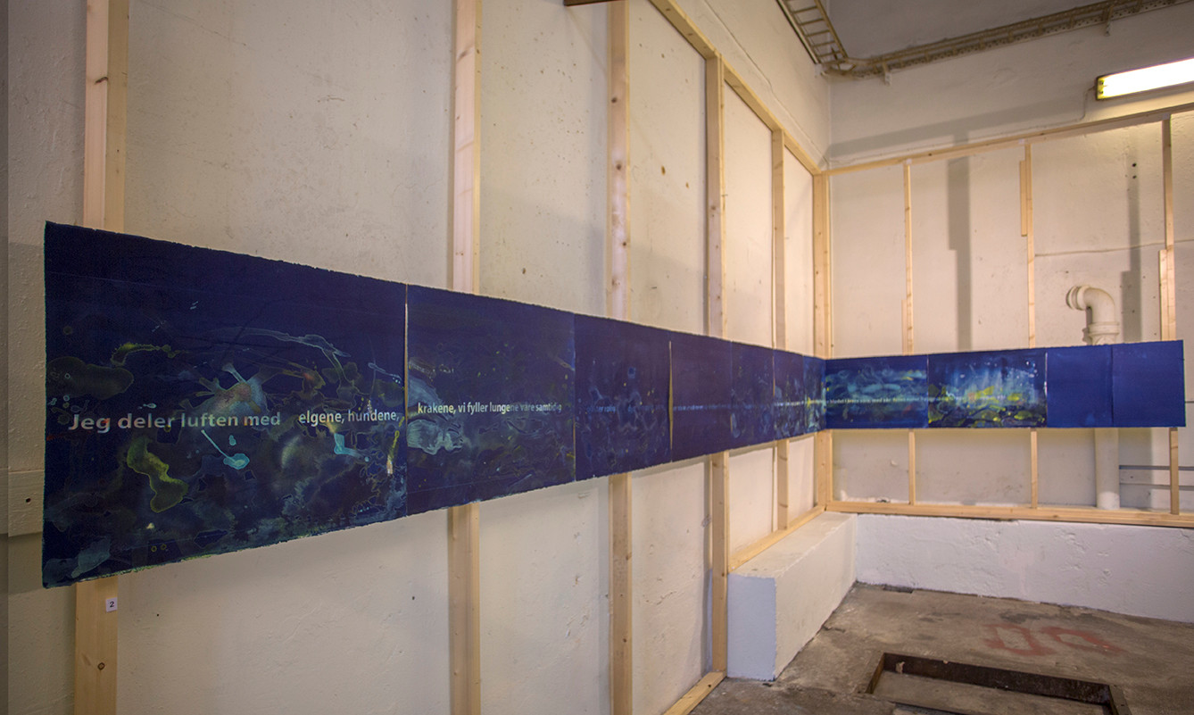 """""The hunger and the beaty"" 9 meter cyanotype and acrylic with the text of norwegian author Erland Kiosterud"