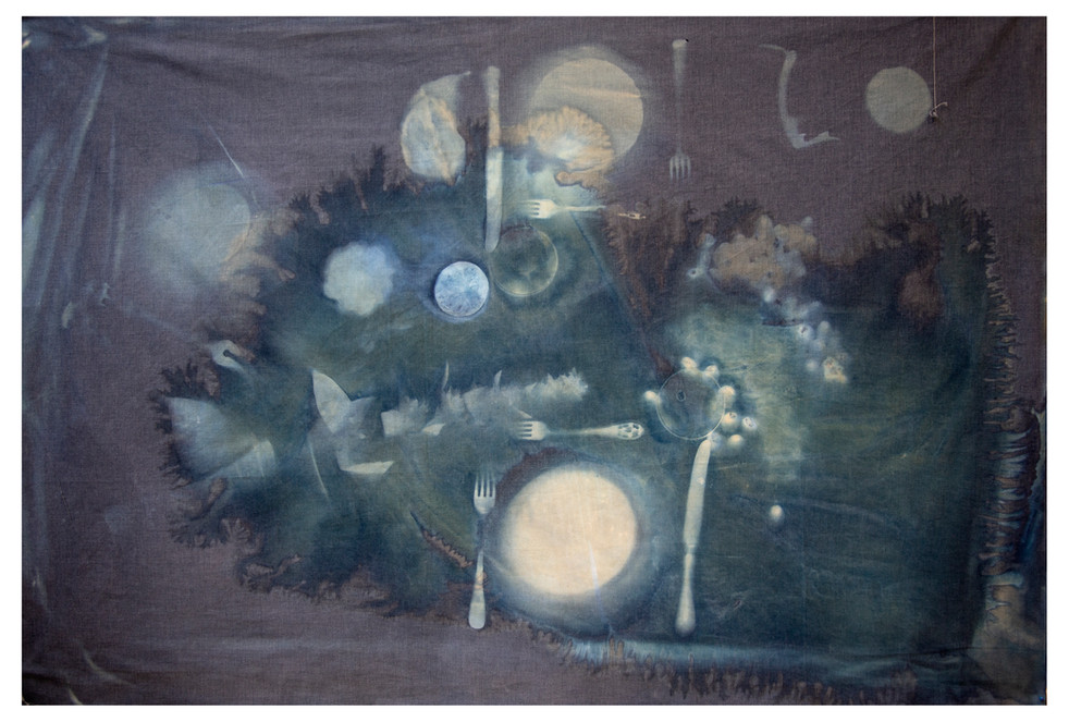 """""""Dinner for two"""" cyanotype on bedsheet."""