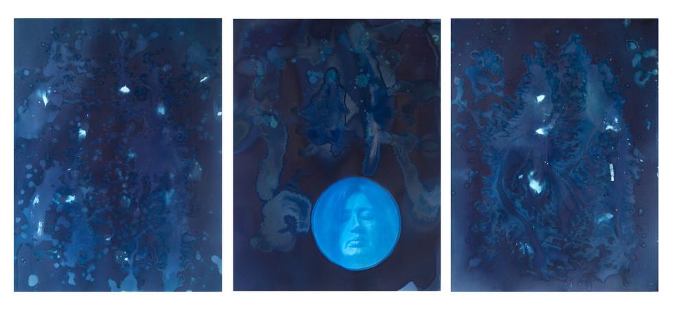 """""""When the sky is falling down"""" cyanotype triptykon"""