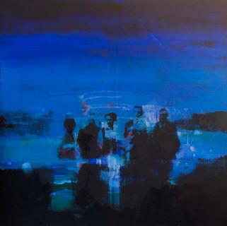 """""""Sommernatt 2""""90 x 90. Fotoemulsjon og akryl på lerett"""