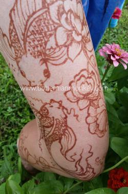 Koi &lotus, henna stain, Louisville