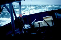 Claymore in rough seas near Mull of Galloway