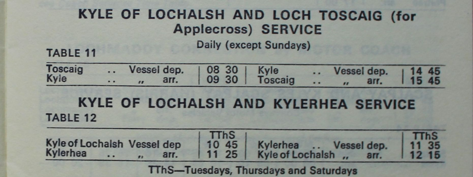 The 1970 timetable