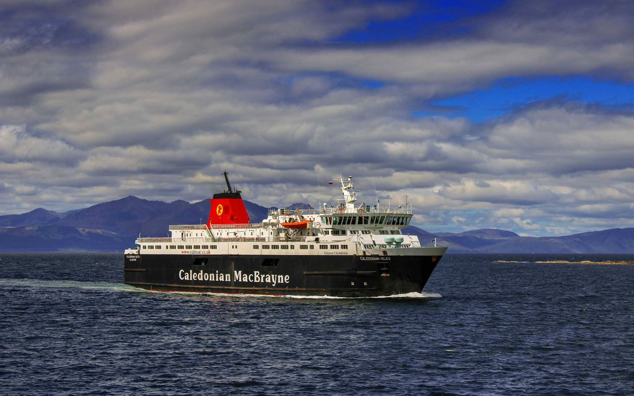 Caledonian Isles arriving at Ardrossan with Arran behind (Ships of CalMac)