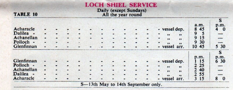 1963 Loch Shiel Timetable