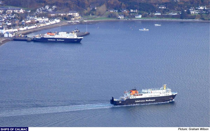 Larger Copy Clansman (at the linkspan) watches as her sister, the Hebrides arrives at Ullapool from Stornoway.