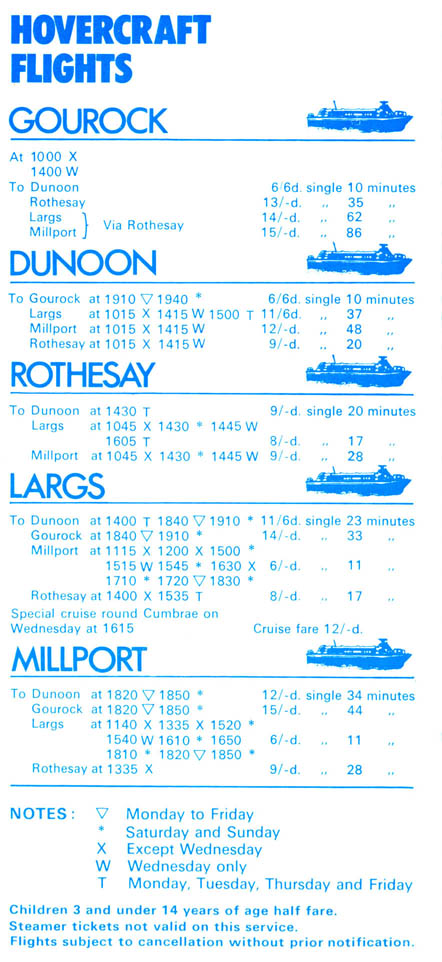 1970 Timetable Rear