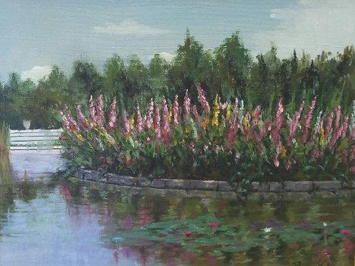 """Hollyhock Island (16"""" X 20"""")"""