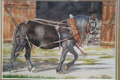"Horse at Work (7""x 10"")"