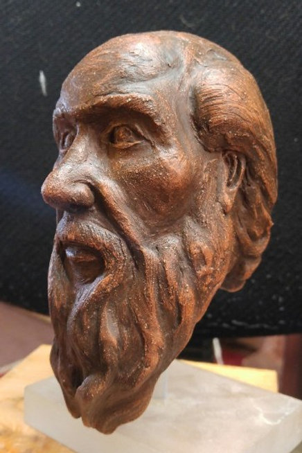 "Old Man Study (5""x 8"") Fired Terra Cotta"