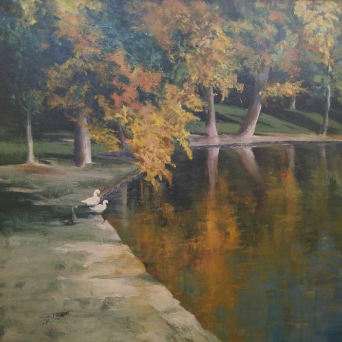"Small Ducks Big Lake (30"" x 30"")"