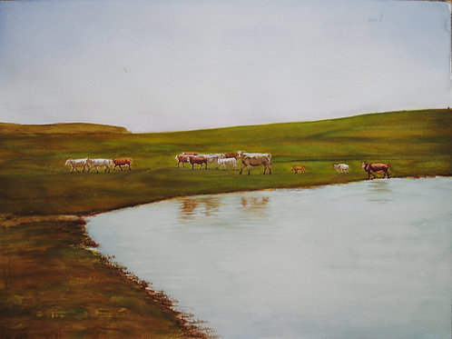 """Watering Hole (18""""x 24"""")"""
