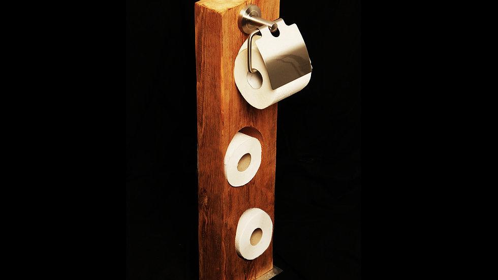 Toilettenpapier-Säule aus massiven Altholz-Eichenbalken