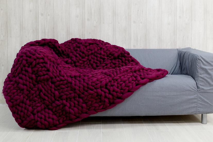 Extra Large Size Merino Chunky Knit Blanket