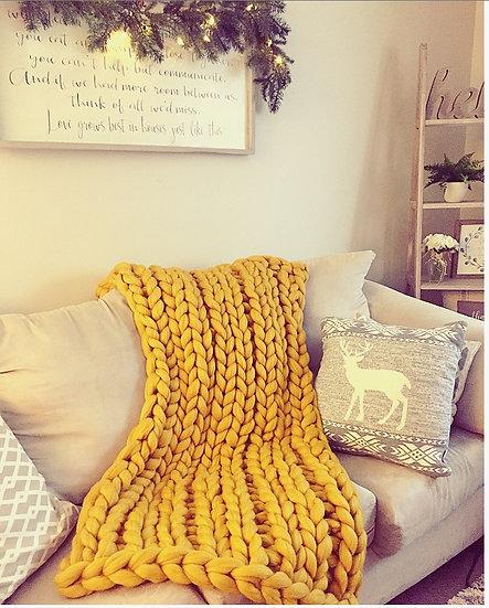 Small Size Merino Chunky Knit Blanket